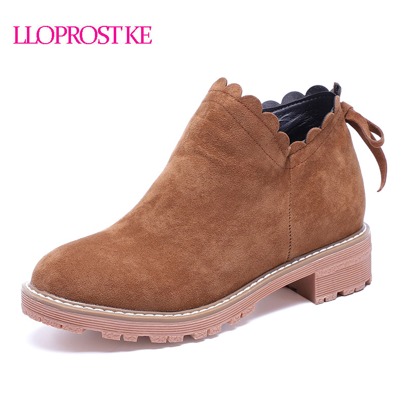LLOPROST KE Women Boots Autumn Winter Bow tie Round Toe Ankle Boots Zipper Round Toe Sweet Lady Shoes Hot Sale Size 33-43 GL087