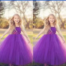 Cute 2016 Junior Purple Flower Girls Dresses For Weddings Toddler Formal Dress Tulle Little Girl Kids Gowns Christmas Pageant