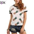 DIDK Mujer camiseta Con Estampado De Frutas de Verano Damas Multicolor Piña de Impresión de Cuello Redondo Manga Corta Camiseta Ocasional