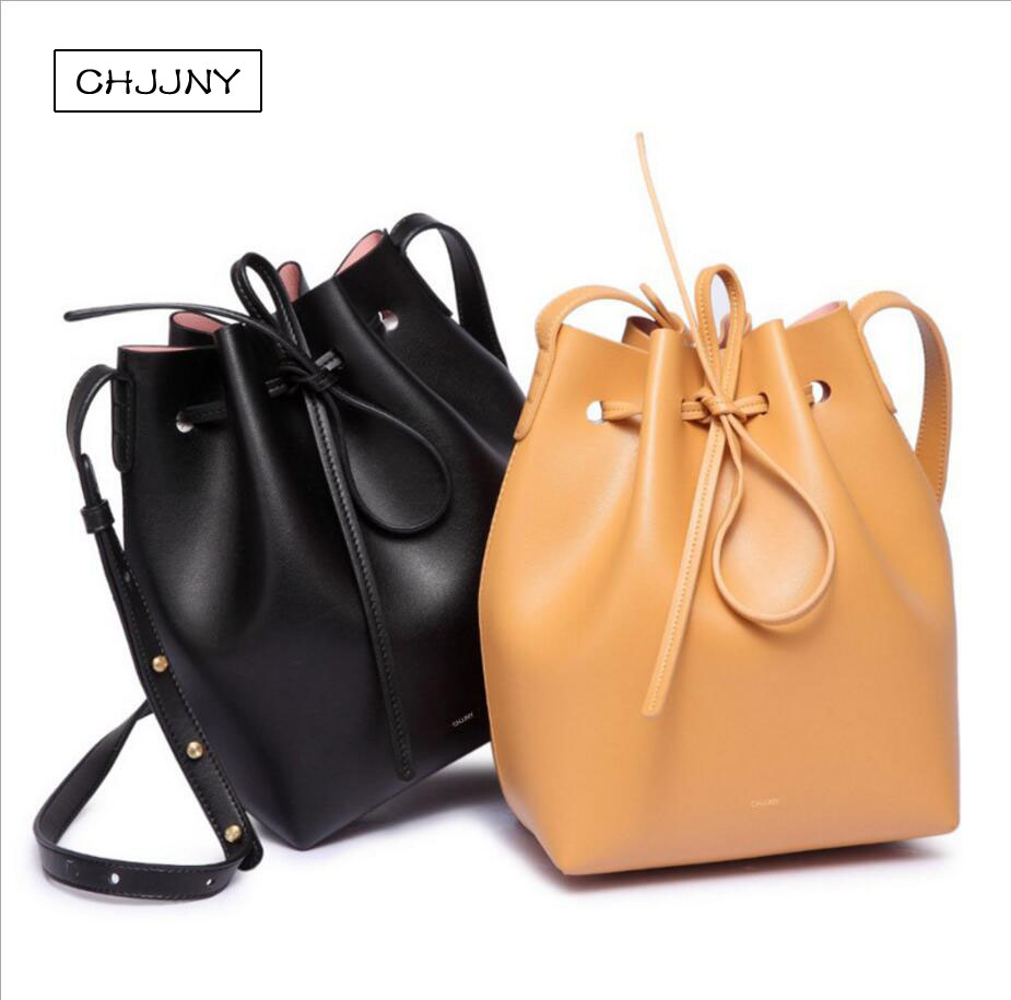 chjjny real genuine leather drawstring bucket bag designer Gavriel and Mansur brand luxury female belt strap shoulder hand catch 2016 newest mansur gavriel genuine leather women circular tote bag lady hand bag logo printed free shipping