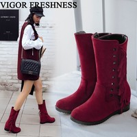 VIGOR FRESHNESS Winter Women Boots Height Increasing Shoes Woman Fringe Boots Autumn Tassel Bohemia Shoes Heels Rivet MY55