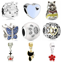 Btuamb Luxurious Crystal Butterfly Tree Love Heart Star Charm Beads Fit European Pandora DIY Bracelets Making Jewelry Lover Gift(China)