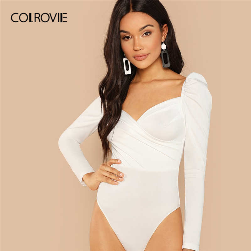 COLROVIE Solid Ruched Puff Sleeve Skinny White Bodysuit Women Autumn Long  Sleeve Sexy Body Office Female 0d75c7f2c