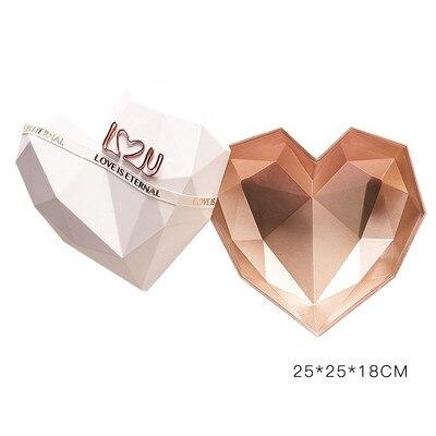 1 шт. роскошные подарочные коробки в форме сердца, упаковочная коробка для цветов, держатель цветочных букетов, цветочные коробки, портативные держатели для цветов и роз - Цвет: 25x25x18cm