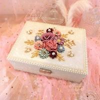 Creative Vintage Princess Flower Jewelry Box Korean European Court Jewelry Box Double layer Wooden Jewelry Box Receiving Box