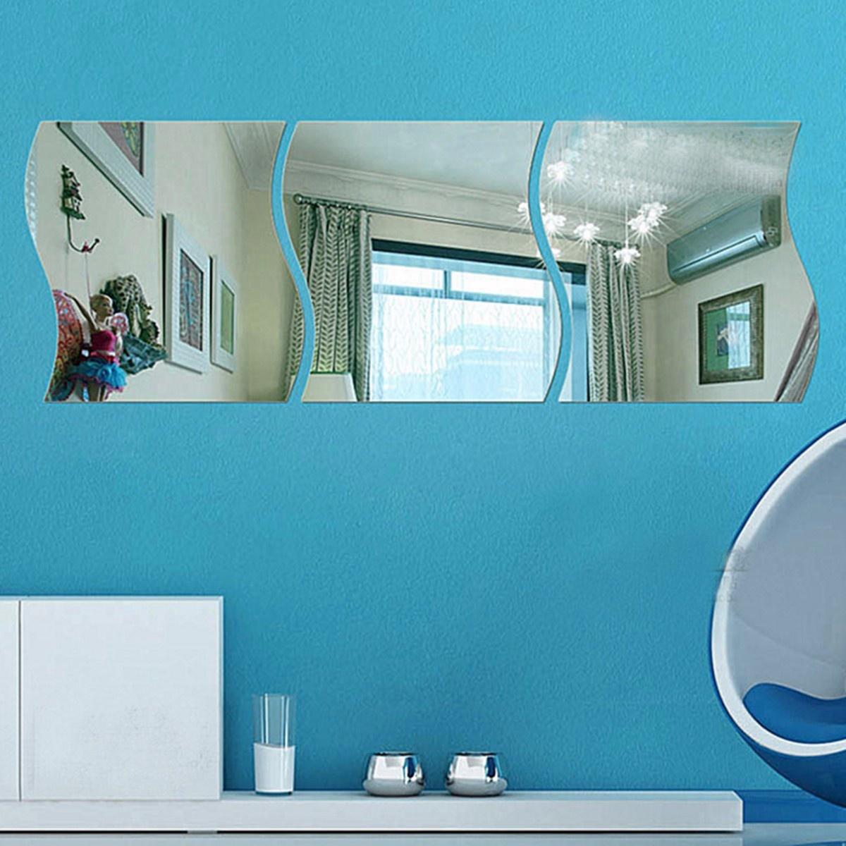 10*12CM 6pcs/set Wave Acrylic Mirror Wall Mirror Papers Home ...