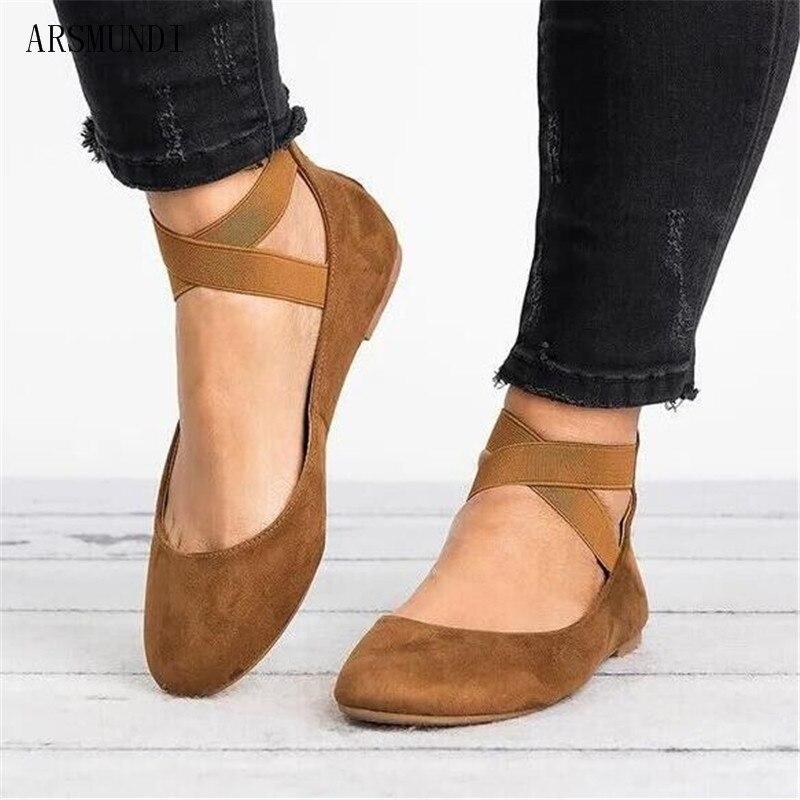 ARSMUNDI 2019 Shallow mouth elastic band back zipper round Women Flat Platforms Ankle Cross belt Ladies Casual Shoes M665
