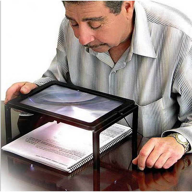 1 pcs Foldable Desk A4 Full Page Large Magnifier 3X Foldable Magnifying Glass with 4 LED Lights for Reading