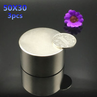 Free Shipping 3pcs 50mmx30mm Hot Round Magnets 50x30mm Strong Rare Earth Neodymium Magnet 50x30 Mm Dia