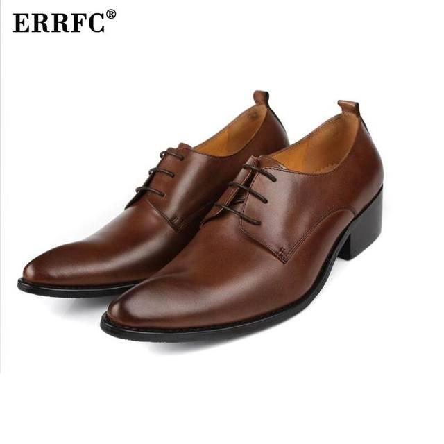 Errfc Fashion Brown Mens Dress Shoes High Heels Leisure Genuine