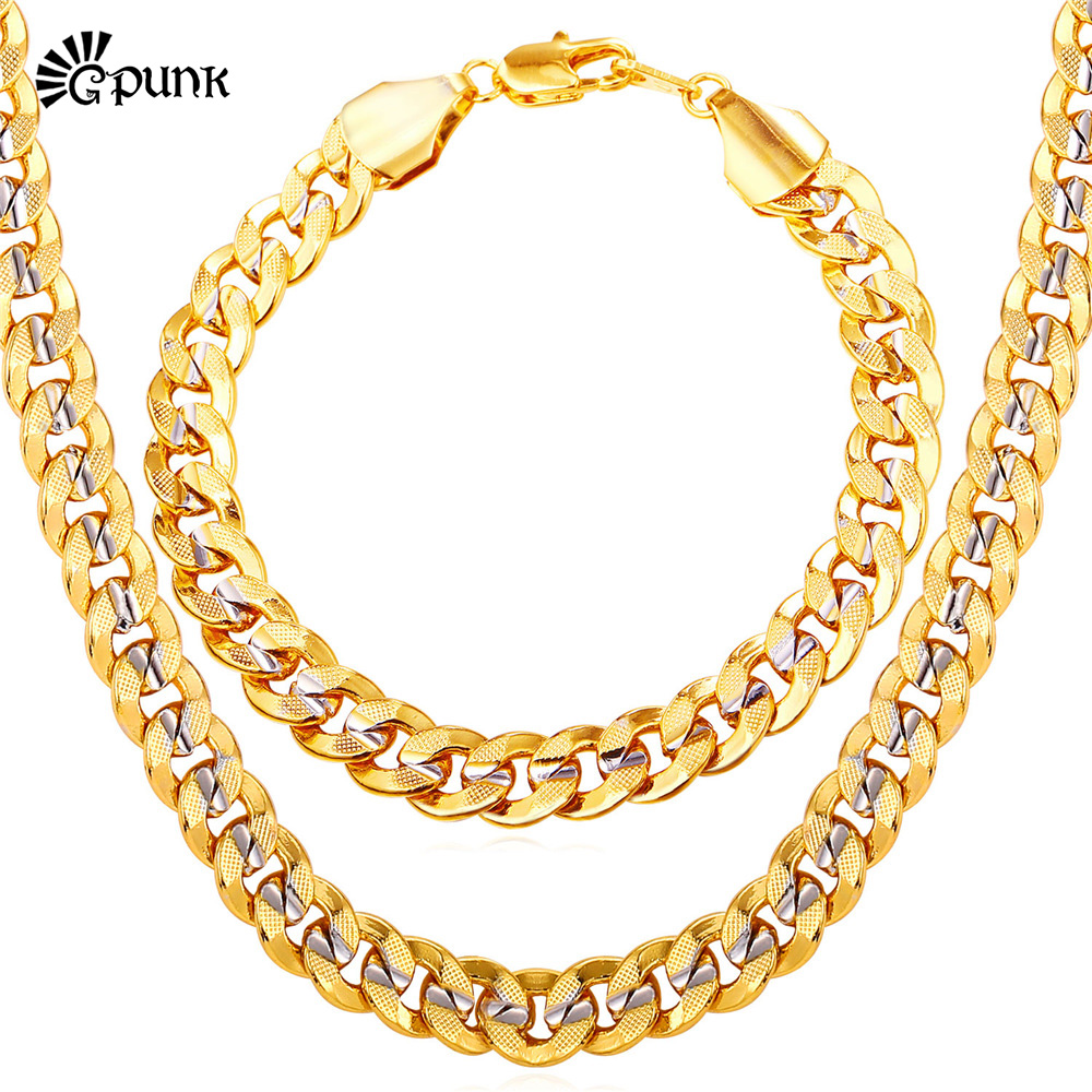 TwoTone Gold Necklace Bracelet Mens Jewelry 9MM Chain Link Bracelet Necklace Hiphop Sets Scrub Chain Gift S1949G