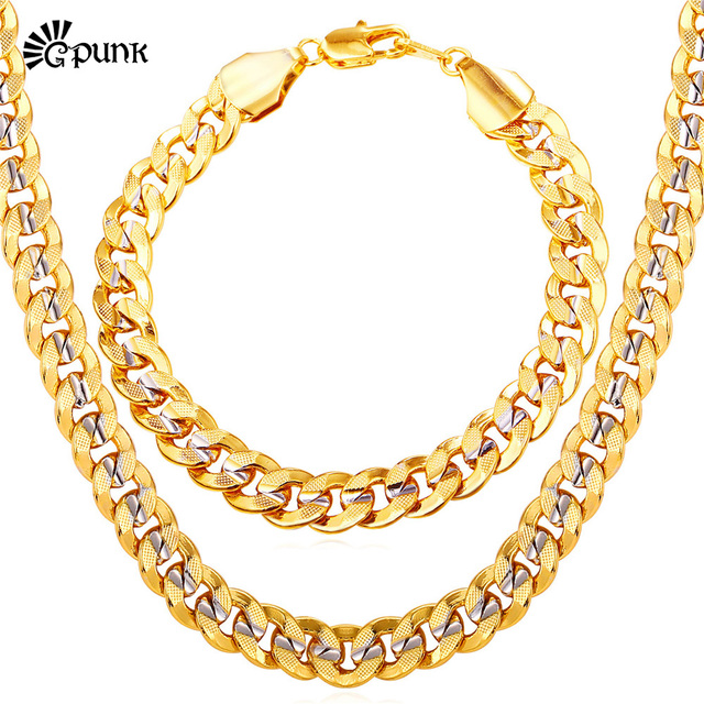 Two Tone Gold Necklace Bracelet Mens Jewelry Whole 9mm Chain Link Hiphop