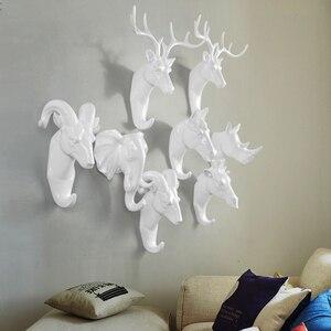Image 1 - Creative Animal Muur Haak Hanger Haak Neushoorn Herten Paard Geit Decoratieve Creatieve Hars Badkamer huishoudster op therack