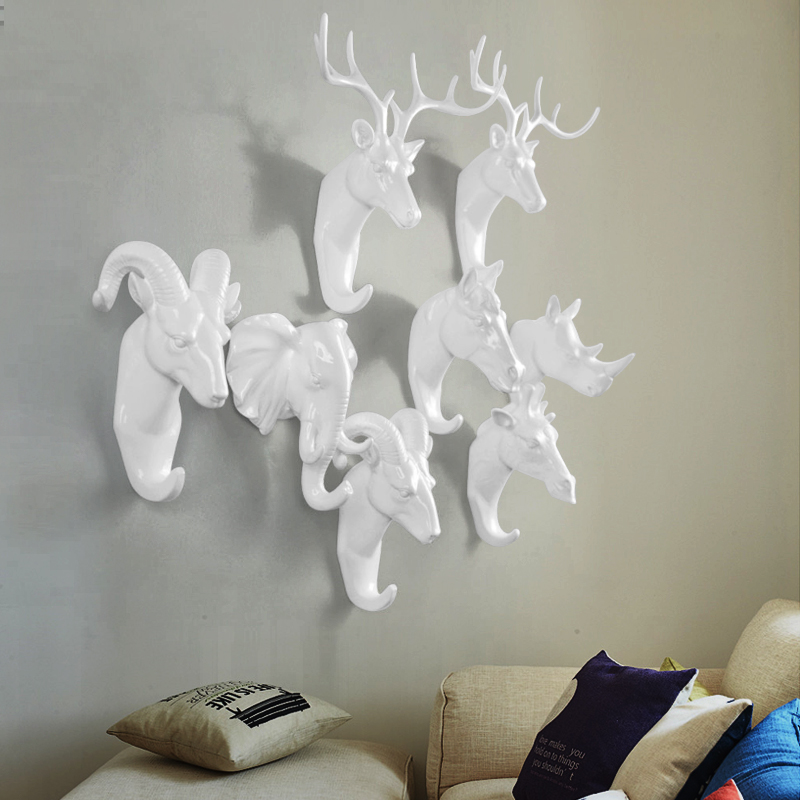 Creative Animal Wall Hook Hanger Hook Rhinoceros Deer Horse Goat Decorative Creative Resin Bathroom Housekeeper On Therack