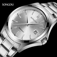 SONGDU Reloj Cuarzo de Los Hombres de Marca de Relojes de Lujo de Los Hombres Reloj Resistente Al Agua Reloj de Los Hombres relojes de Pulsera Relogio masculino reloj de Moda