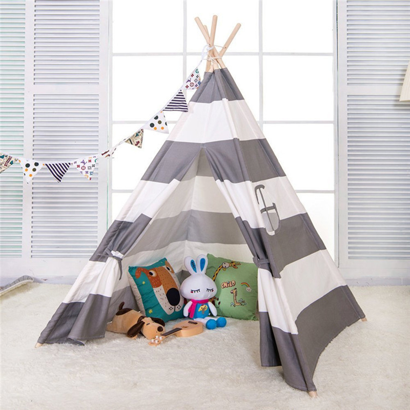 Cute Kids Teepee Tent Tipi Tent for kids Striped Children Play house Toy Kids Tents baby room children teepees for children-in Toy Tents from Toys & Hobbies    1