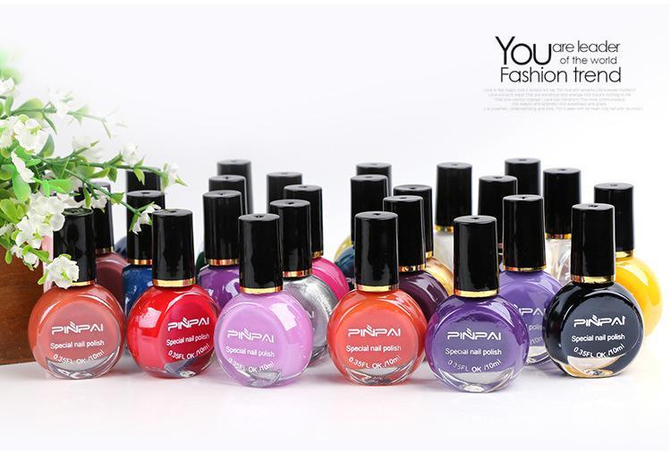 Pinpai Profesional de estampación Nail Art polaco 25 colores 10ml Barniz de esmalte de uñas para la impresión de manicura