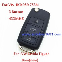 For Car VW 1K0 959 753N 3 Button Remote Control 433MHZ +ID48 Chip For VW Lavida Tiguan Bora(new) Best Price