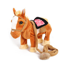 Children's Electric Plush Toy Pony Will Sing and Dance Simulation Horse Leash Walking Electronic Plush Toy Horse