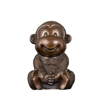 home decoration cast bronze wild animal funny mascot sitting monkey art statue sculpture