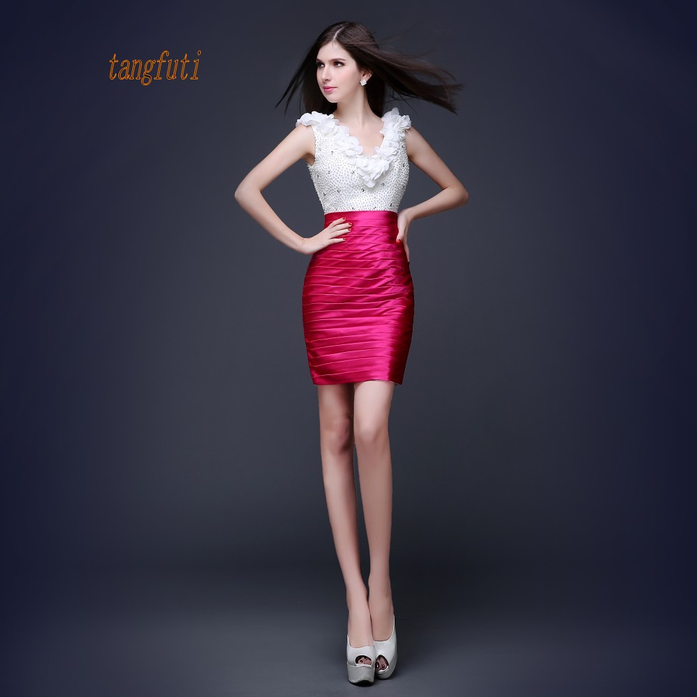 Cute Mini   Cocktail     Dresses   V Neck Pearls Pleats Satin Sheath Party Gowns Women's Sexy   Dress