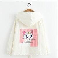 Women Anime Sailor Moon Clothes Autumn New Design Kawaii Cat Printed Harajuku Jacket Spring Full Sleeve