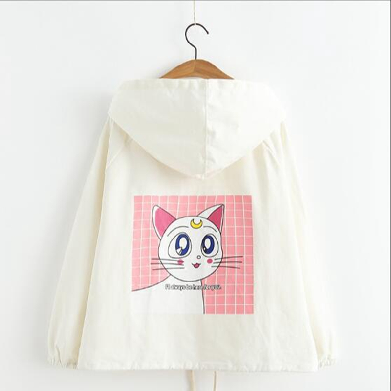Women Anime Sailor Moon Clothes Autumn New Design Kawaii Cat Printed Harajuku Jacket Spring Full Sleeve Girl's Outwear Top