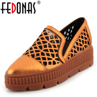 FEDONAS Women Sexy Cut outs Wedding Party Shoes Woman Platforms Summer New Sandals Female Rome Style Falts Shoes Round Toe Flat