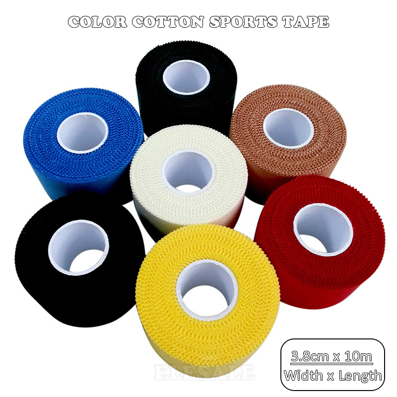 1/Roll 3.8cm 10m Color Cotton Cloth Sports Tape Bandages Wound Dressing Fixing Adhesive Outdoor Sports Treatment First Aid Kit
