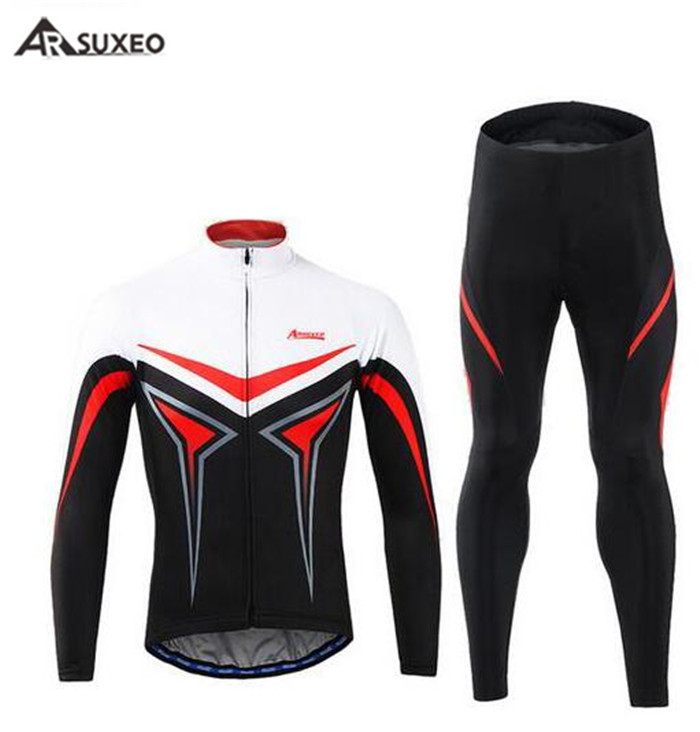 ARSUXEO Mens Cycling Jerseys Long Sleeves MTB Jersey Bike Bicycle Shirts Wear Uniforms Ropa Ciclismo Cycling Clothing in Cycling Jerseys from Sports Entertainment