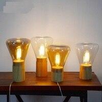 Американский стиль Настольные лампы оригинальность простой Nordic твердой древесины стекла Гостиная Исследование Спальня Бар Стекло Настоль