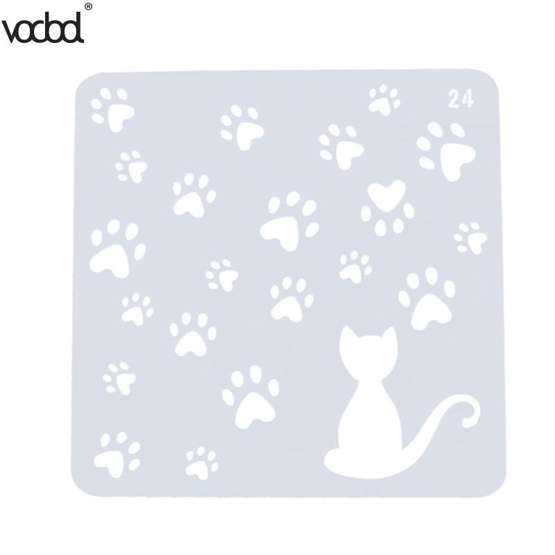 VODOOL Cat w/ Footprint Template Layering Stencils for Wall Scrapbooking/photo Album Decorative Embossing DIY Paper Cards Crafts cutiepie kinds of 0 9 numbers transparent clear stamps for scrapbooking diy silicone seals photo album embossing folder stencils