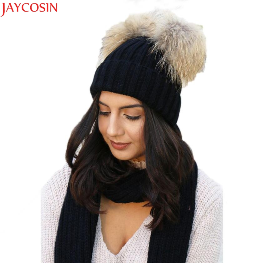 Jaycosin women ponytail beanie Fashion Keep Warm Winter Hats Knitted Wool Hemming Hat female t531