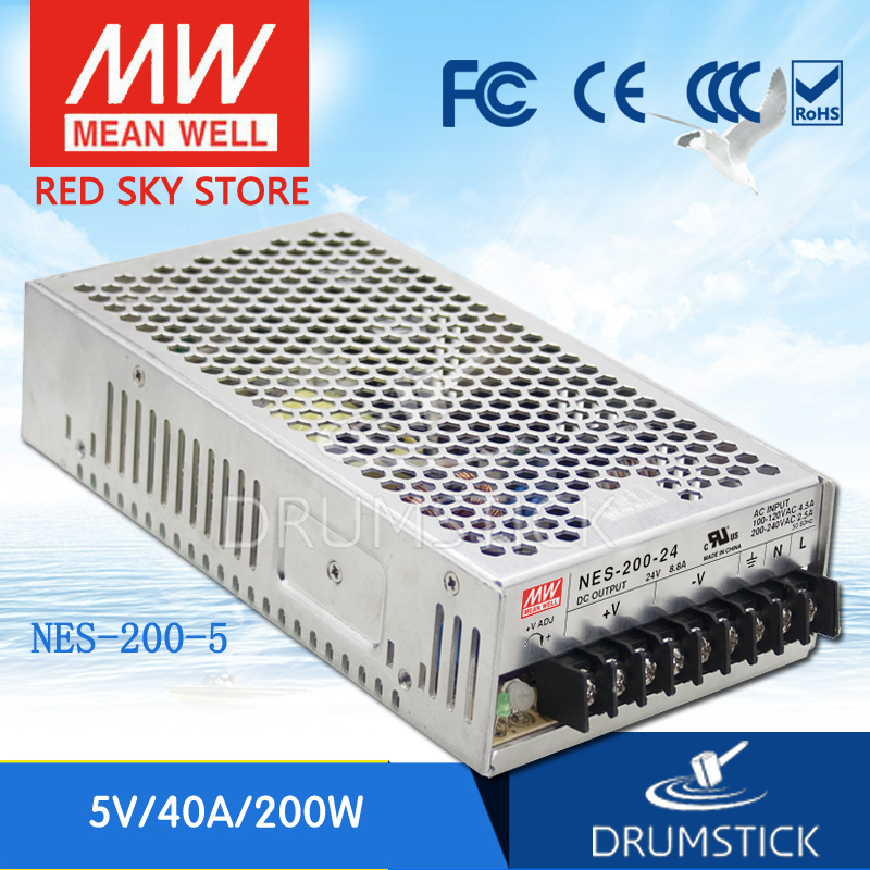 (12.12)MEAN WELL NES-200-5 5V 40A meanwell NES-200 5V 200W Single Output Switching Power Supply 200w switching power supply nes 200 5 5v 40a smps ce approved for led driver
