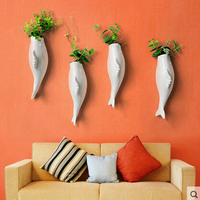 New Hanging Flower Ceramics Vase Wall Fish Container Creative mural wall vase Homw Decor shaped vase Arts and Crafts