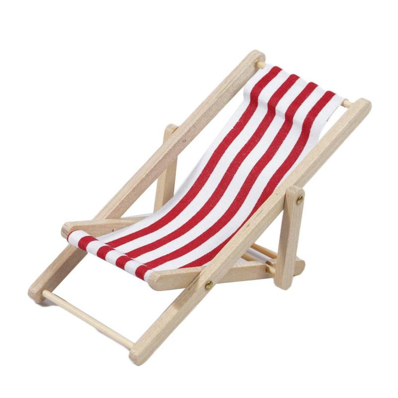 1/12 Wooden Striped Lounge Chair for Dollhouse Miniature Furniture Folding Stripe Deck Beach Chair Kids Girls Toy Christmas Gift