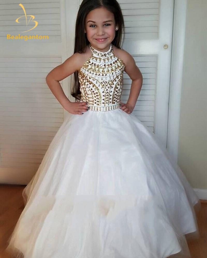 2019 gaun malam gaun bola gaun baru dengan gaun manik organza gadis gadis pageant gaun puteri vestidos de comunion L15