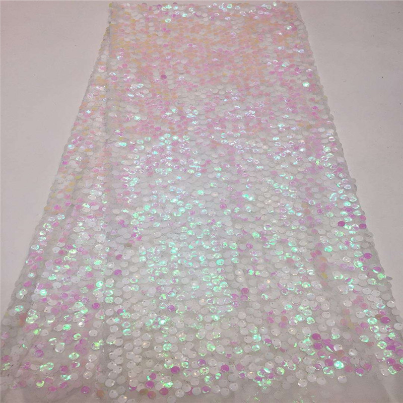 Madison New design French Net Sequin Lace Fabric 2019 Latest african sequence lace fabric with embroidery tulle fabric