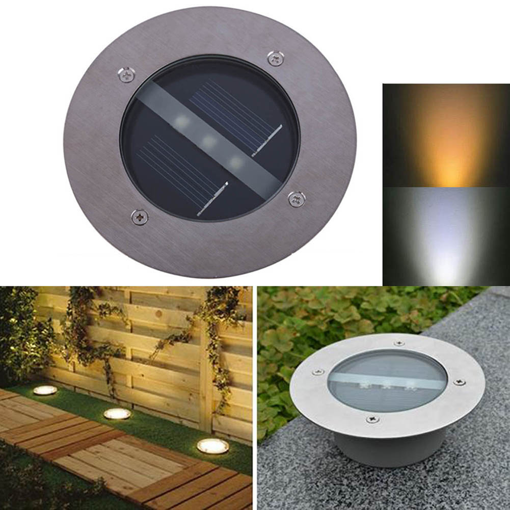 3 LED Solar Powered Garden Pathway Lighting Bulb Outdoor Underground Waterproof Lawn Lamp 2V 100mA Solar Panel
