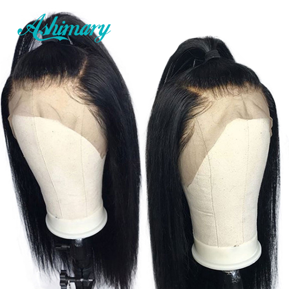 Ashimary Wigs Human-Hair-Wigs Lace-Front Preplucked Straight Black Women 13x4 for Remy