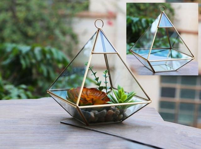Home Decorative DIY Art Flower Pot Planters Metal Glass Pots Desktop  Decoration Irregular Geometric Vases Garden