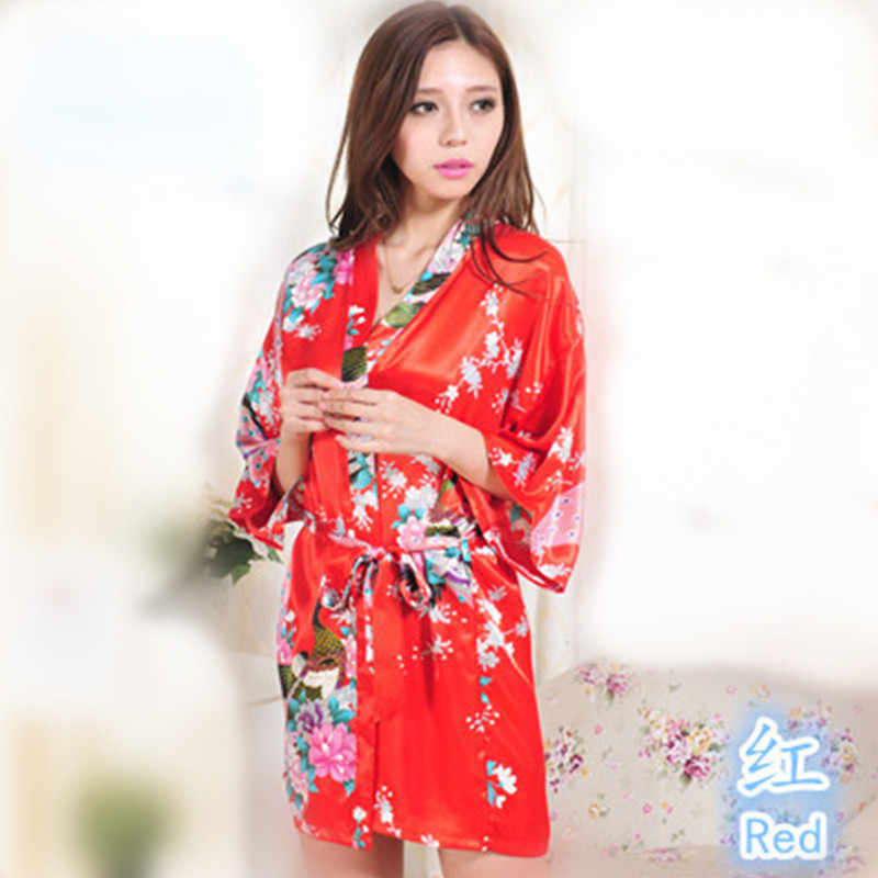 Top Red Lavender Peacock Pattern Short Design Wedding Bridal Kimono Robe Satin Lady Night Dress Gown Women Nightgown