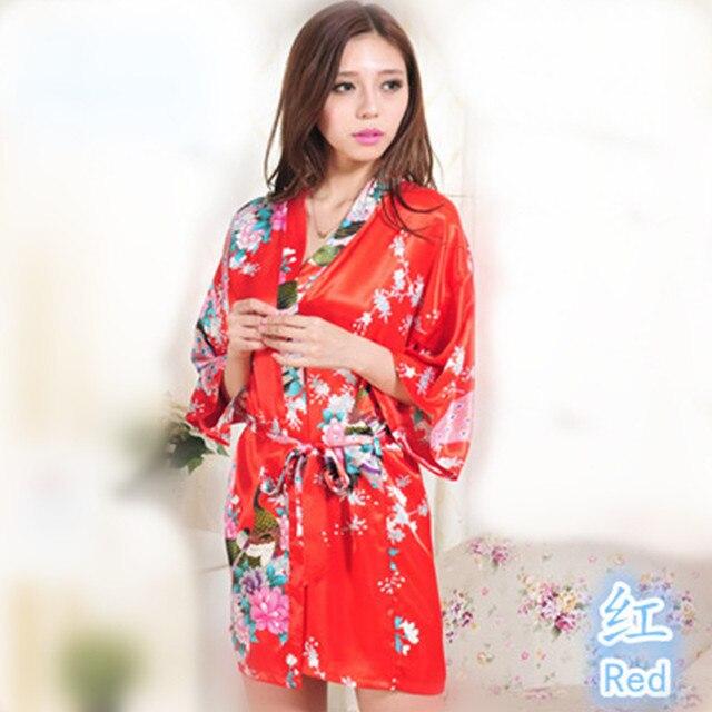 sélection premium 33589 f300c € 6.88 43% de réduction|Top rouge lavande paon motif courte conception de  mariage Robe Kimono de mariée Satin dame Robe de nuit Robe de nuit femmes  ...