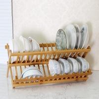 Pokich Folding Bamboo Dish Rack Drying Rack Holder Utensil Drainer Plate Storage Holder Plate Flatware Dish Rack 16/20 grids