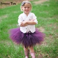 Baby Kids Girls Tutu Skirt Cute Birthday Party Tutus Ballet Skirts Purple,Gray Fluffy Children Pettiskirt Princess Tulle Skirt