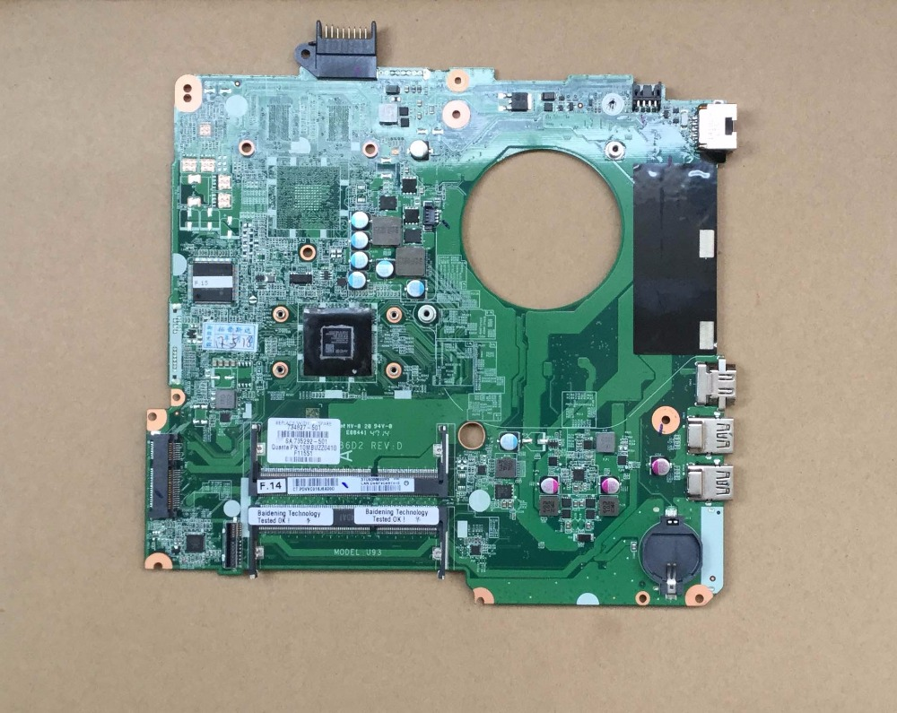 734827-501 734827-001 Free Shipping FOR HP PAVILION TOUCHSMART 15 15-N AMD A6-5200M SERIES laptop motherboard DA0U93MB6D0 REV:D