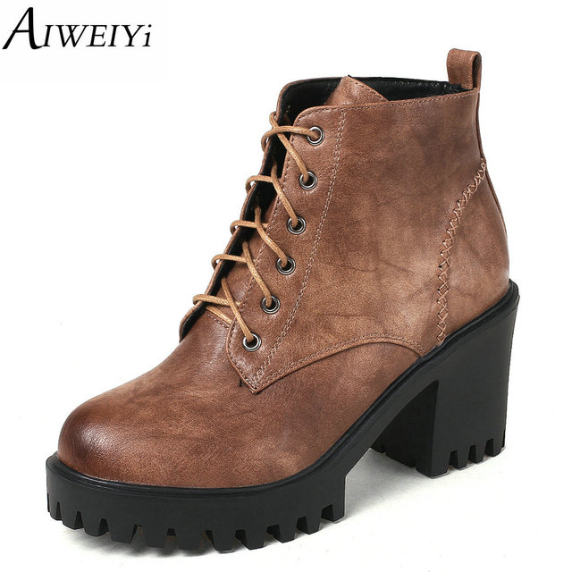 a5dc8a331b2 AIWEIYi Thick High Heels Ankle Boots For Women Lace Up Platform Motorcycle  Boots Black Brown Fur Warm Winter Snow Boots Botas-in Ankle Boots from ...