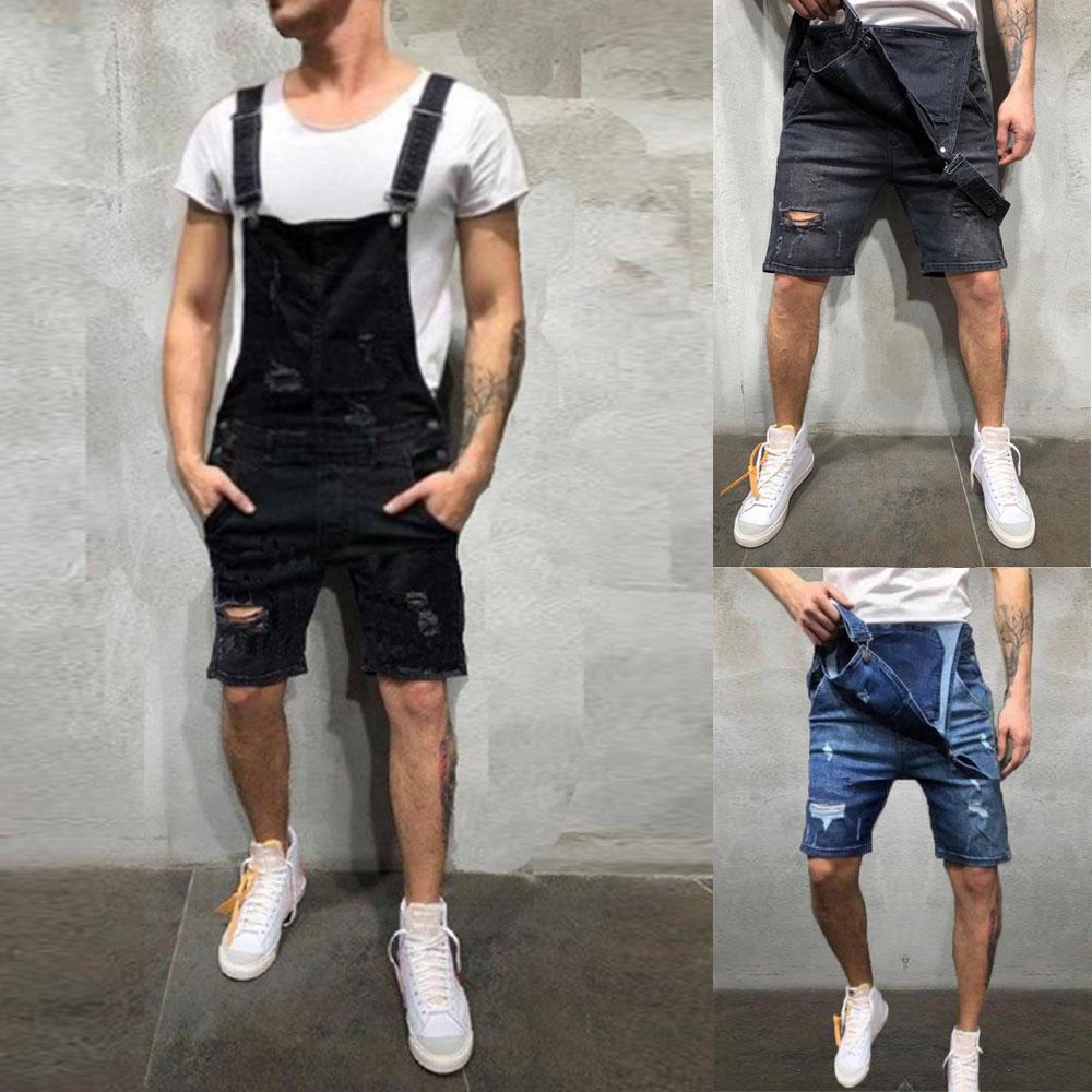 2020 Oversize Fashion Men's Ripped Jeans Jumpsuits Shorts Summer Hi Street Distressed Denim Bib Overalls For Man Suspender Pants 2