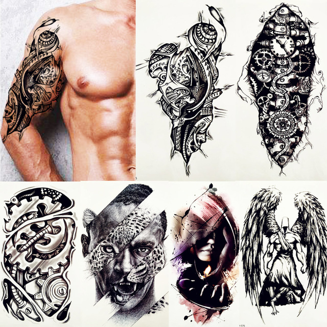 d123524d0b449 FANRUI Robot Arm Mechanical Gear Cool Temporary Tattoo Sticker Leopard Men Body  Art Black Tatoo Draw City Waterproof Tattoos