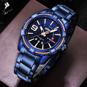 Image 1 - NAVIFORCE Mens Watch Blue Dial Stainless Steel Water Resistant Man Watches Luxury Business Analog Quartz Mens Watches Fashion